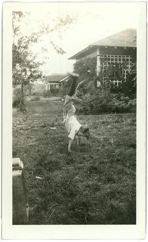 Boy doing cartwheel