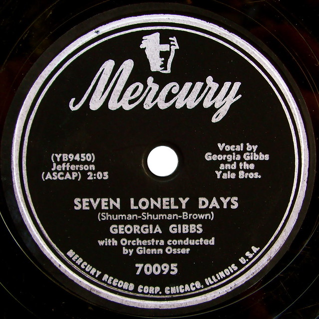 Seven lonely days by georgia gibbs vintage mercury record for Classic house record labels