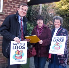 Prospective Lib Dem Parliamentary Candidate, Martin Tod and County Councillor Jackie Porter out collecting petition signatures to save the loos in Alresford from being cut by Winchester City Council.  See www.saveourloos.com for more details.