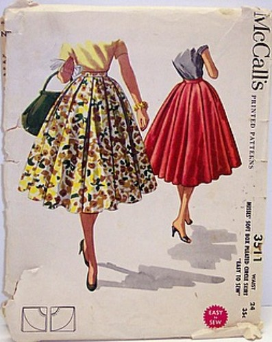 Vintage McCalls Pattern 3511 Full Cirlce Rockabilly 50s Skirt