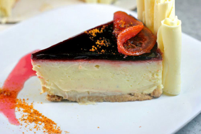 White Chocolate Cheesecake with a Blood Orange Mirror, White Chocolate ...