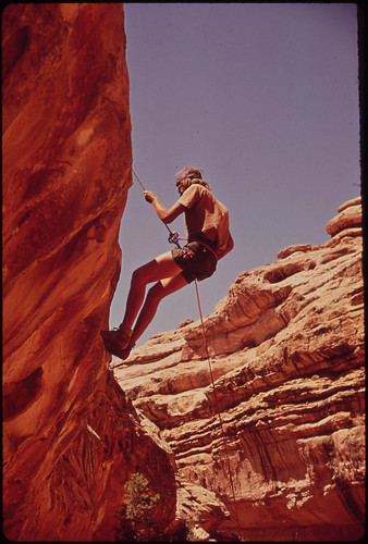 Climbing Out from the Head of Water Canyon, near the Maze, a Remote and Rugged Region in the Heart of the Canyonlands, 05/1972