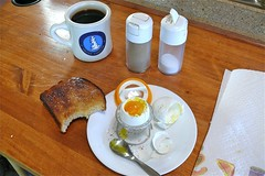 Two softboiled eggs, toast & a cup of strong black coffee, a perfect way to start the day.