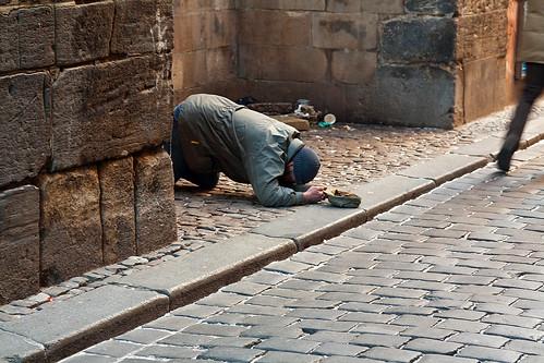 Prague - Beggar next to Tyn Cathedral