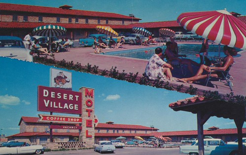 umbrella vintage texas postcard motel fortworth aaa poolview dualview signview desertvillage