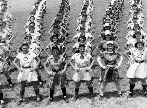 All American Girls Professional Baseball League members performing calisthenics: Opa-locka, Florida