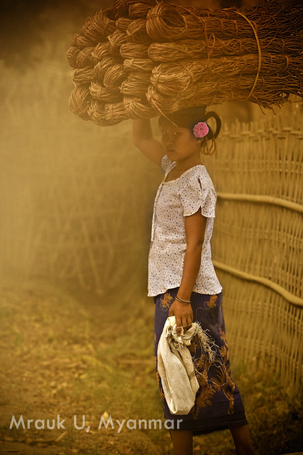 Peasant woman in Mrauk-U village