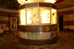 The ticket booth in the Coronet Cinema.