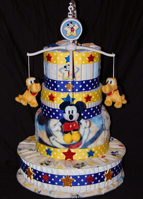 Mickey Mouse Star Diaper Cake 60 Pampers Swaddlers