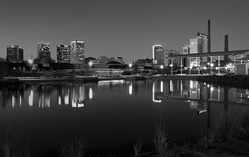 city urban blackandwhite bw reflection monochrome skyline night blackwhite al twilight birmingham dusk alabama railroadpark