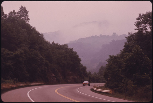 The West Virginia Turnpike North of Beckley Winds through Beautiful Wooded Countryside 06/1974