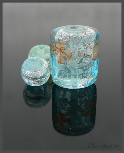 Iced Lily - Lampwork Glass Focal Bead Set
