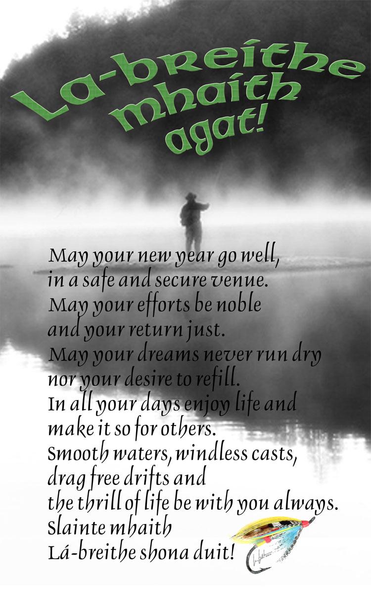 Gaelic Greeting Happy Birthday Fly Fishing Slant A Photo On
