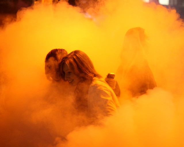 Revellers in the mist