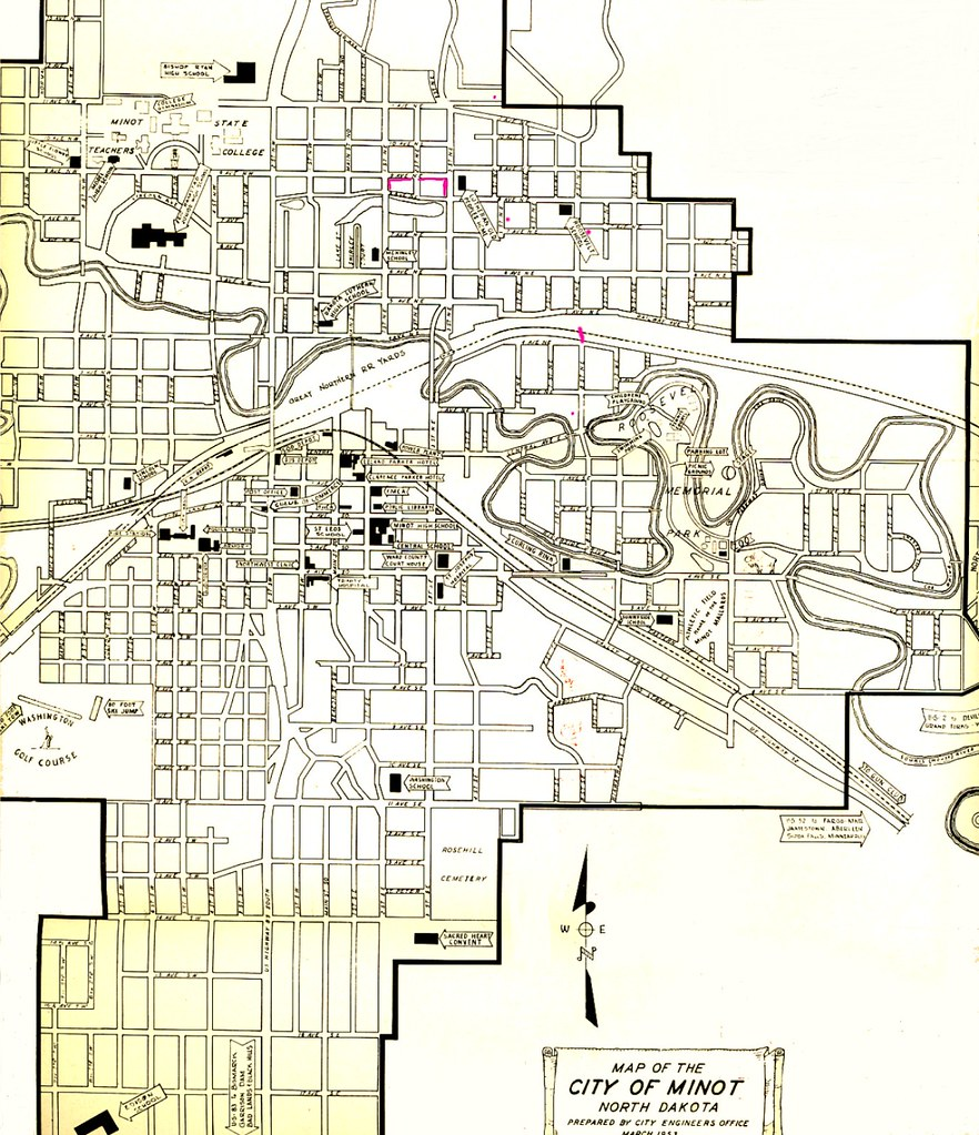 Map of Minot, North Dakota 1953 | My old map to help me reme ... Map Of Cities Near Minot North Dakota on map of arcata ca, map of carson city nevada, map of troy new york, map of casa grande arizona, map of la grande oregon, map of evanston illinois, map of spearfish south dakota, map of terranea, map of alamogordo new mexico, map of north minot nd, map of aberdeen south dakota, map of new haven connecticut, map of minot state, map of minot beach, map nd north dakota, map of winter garden florida, map of cedar rapids iowa, map of boone iowa, map of ashland ohio, map of hutchinson kansas,