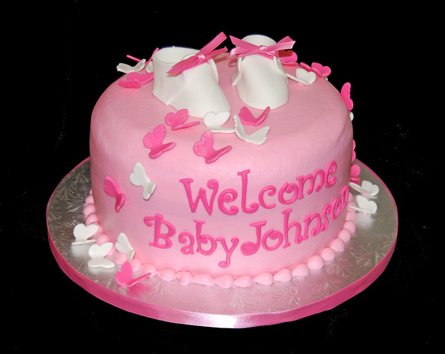 pink butterfly baby shower cake with baby booties flickr photo