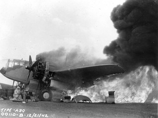 Bomber in flames in Africa during World War II