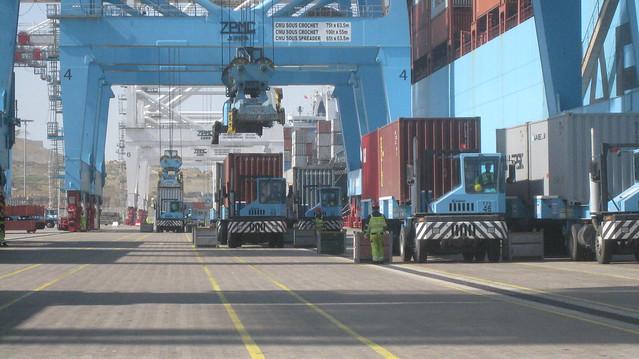tractors and cranes  apm terminals tangier