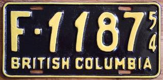 BRITISH COLUMBIA 1954 ---FARM plate RARE FORMAT