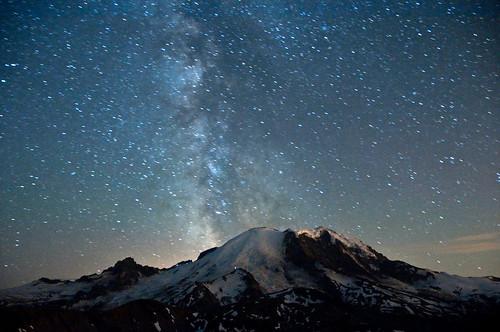 sky night stars landscape nationalpark nikon galaxy mtrainier climbers milkyway firelookout davidhogan d5000 mtfremont