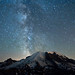 Milky Way over Mt. Rainier by David M Hogan