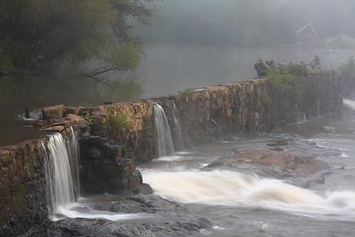 tree fog nc rocks dam northcarolina lincolncounty southforkriver rhynemill davidhopkinsphotography rhynemilldam ncpedia