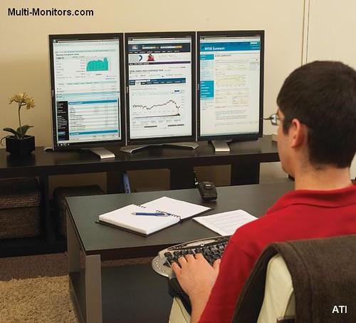 Ati Windows7 Desktop Multiple Monitors Three Screens Portr