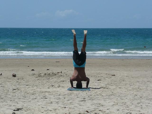 Kanishka doing yoga poses on the beachYoga Poses On The Beach