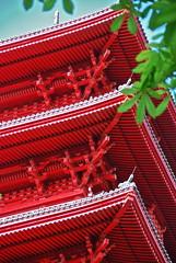 Toiture en étages de la tour japonaise