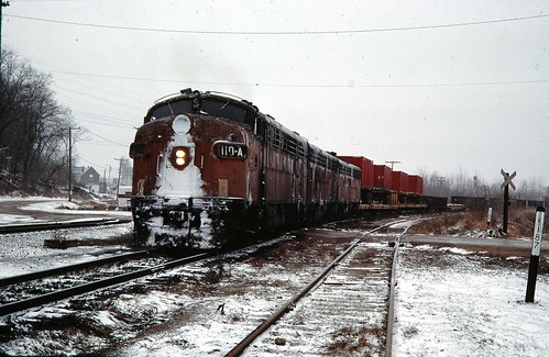Milwaukee Rd Covered wagons at Green Island Iowa 1978