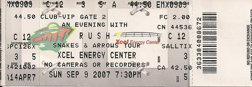09/09/07 Rush @ St. Paul, MN (Ticket)
