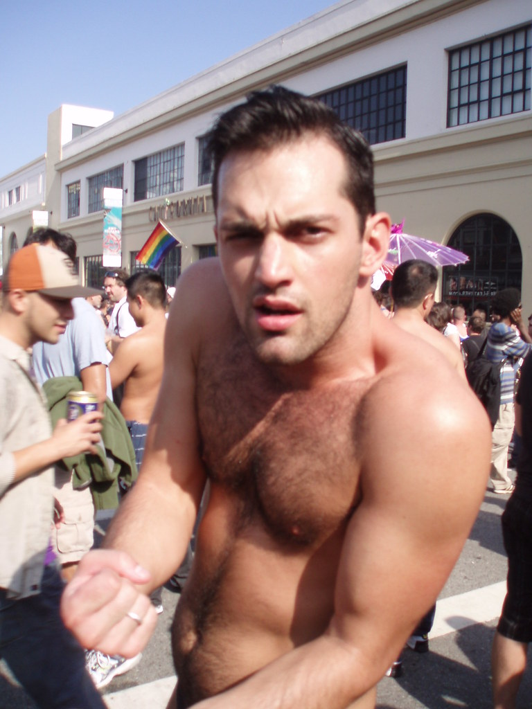 HELLA SEXY HAIRY YOUNG HUNK ! FOLSOM STREET FAIR 2009 - SEXY FUN GUY = STRIKE THAT POSE -WANNA PIECE OF ME?(sorry for the blur)