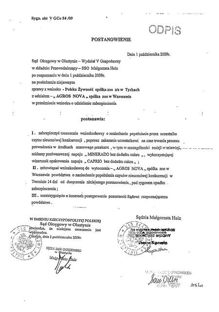 Strony odpostannowienie Agros Nova Minerado