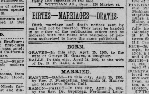 16 Apr 1900 San Francisco Call - Hawver Gall Marriage