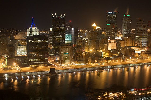Downtown Pittsburgh at Night from the Mt. Washington ...