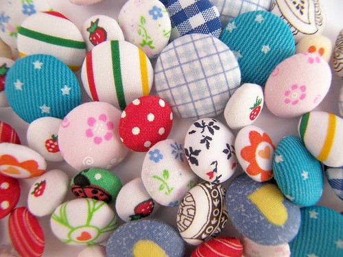 Botões forrados/Fabric covered buttons