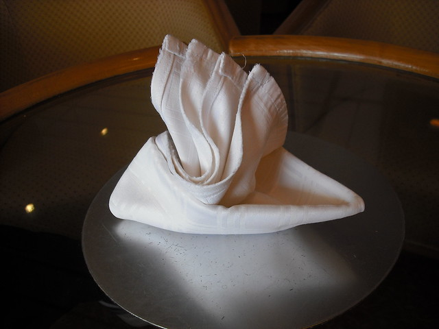 At The Napkin Folding Demonstration  This Is My Napkin