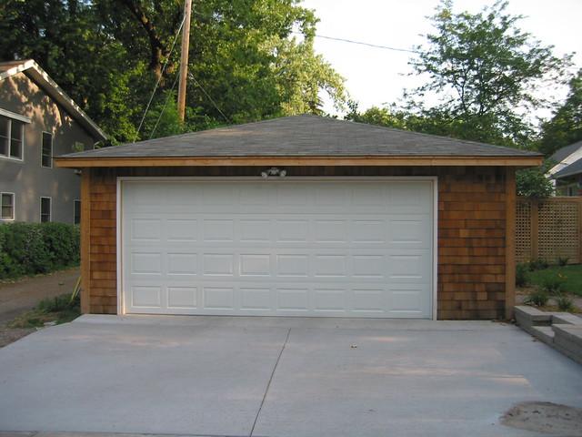 22x22 two car garage cedar siding hip roof st paul mn for Hip roof garages