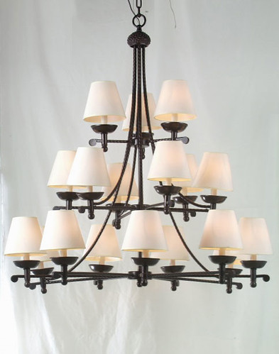 Black Chandelier Iron Wrought - Indoor  Outdoor Lighting