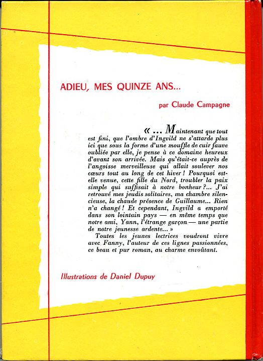 Adieu, mes quinze ans..., by Claude CAMPAGNE