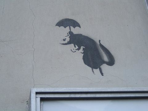 Banksy's Umbrella Rat