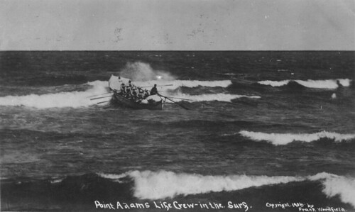 Point Adams lifesaving crew in the surf