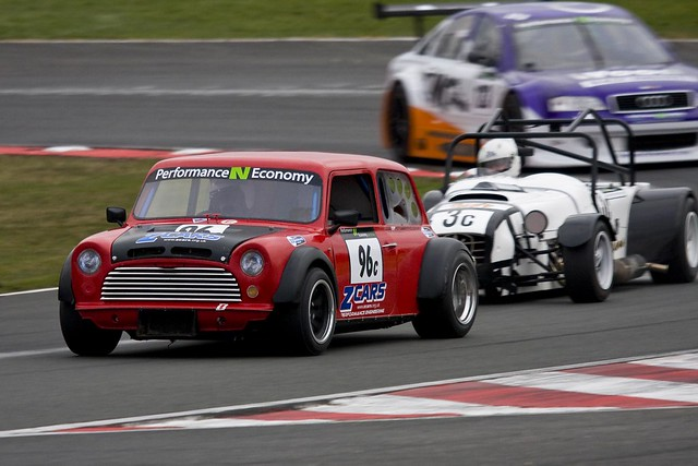 The Z Cars rear engined Mini of Chris Allanson leading the MK Indy of Chris