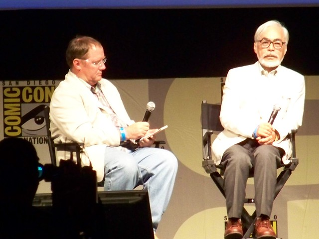 John Lasseter and Hayao Miyazaki talk about Studio Ghibli's Ponyo at the Walt Disney/Pixar Animation Studios Presentation at San Diego Comic-Con International