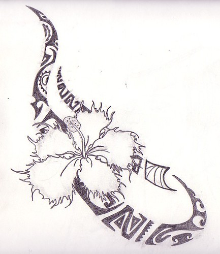 A friend of mine wanted a hibiscus flower and some tribal design