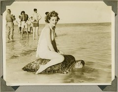 Young woman riding on the back of a turtle at Mon Repos Beach