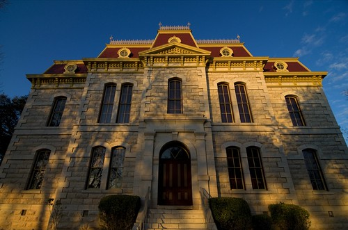 blue sunset red yellow sonora sandstone victorian courthouse sonoratexas suttoncountycourthouse suttoncountytexas