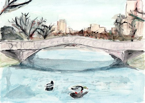 Ducks On Frozen Lake Central Park Watercolour By My