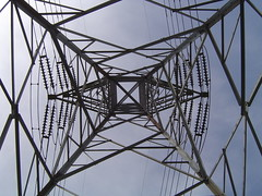 symmetry, electrical supply, overhead power line, line, transmission tower, electricity, iron,
