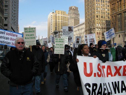 Detroit MLK Day March through downtown. Participants called for economic justice and solidarity with Palestine. (Photo: Alan Pollock) by Pan-African News Wire File Photos